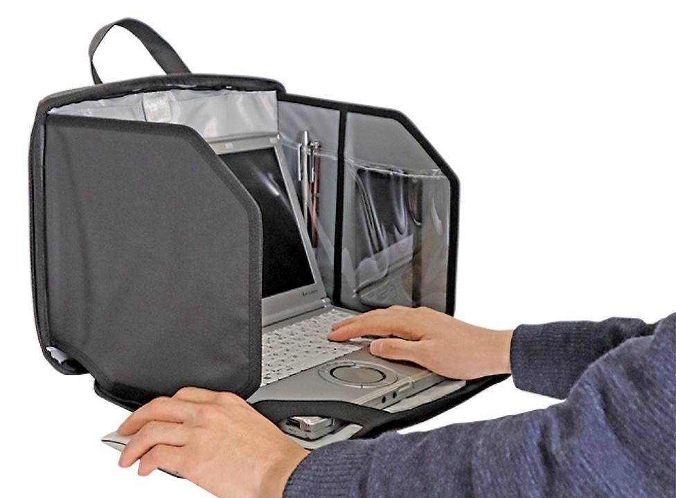 視線ブロック、作業に集中。「パーソナルスポット」は仕事場を持ち運べる可変型ノートPCケース