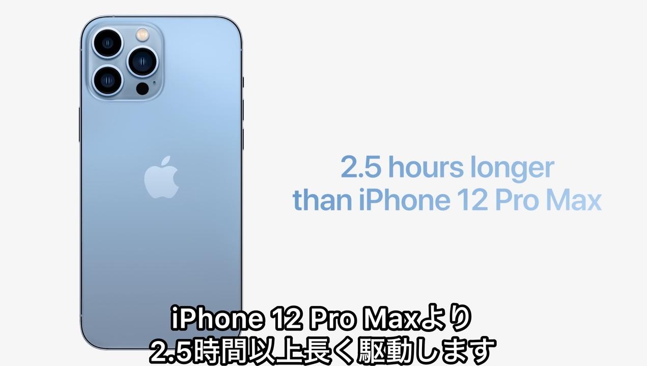 iPhone史上最長! 新作iPhone 13 Pro Maxのバッテリーは最大2.5時間も長持ちするよ #AppleEvent