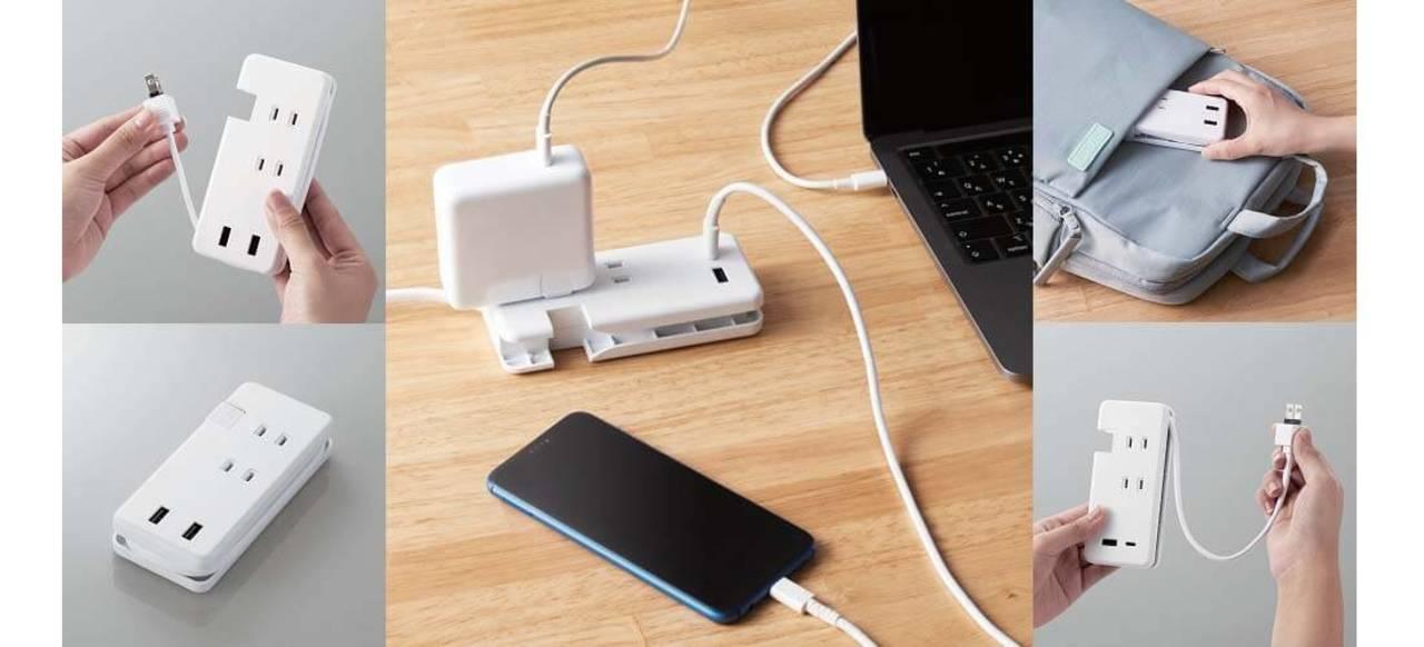 AC×3 + USB×2で給電。スマホ大のモバイル電源タップが出先の作業で活躍するよ