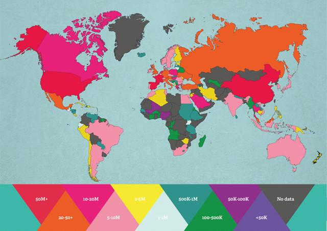 「世界で訪問者が一番多い国はどこ?」がひと目で分かる地図