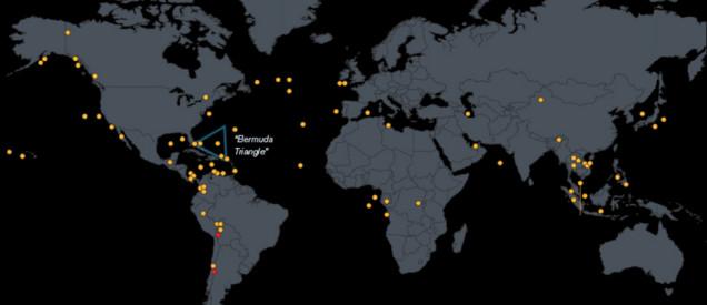 魔の三角海域は世界中にある。これまでに消えた飛行機の全失踪場所MAP