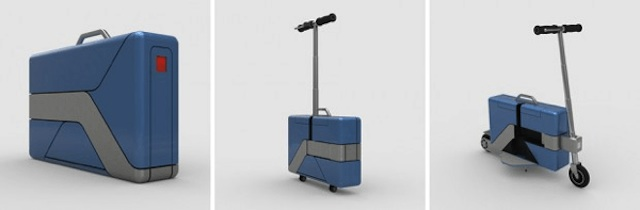 ブリーフケースがボタン一つで電動スクーターにトランスフォーム