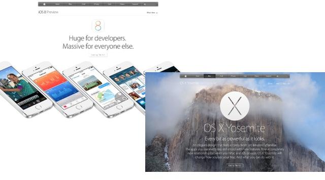 米アップルのWebにYosemite、iOS 8のページがリリース