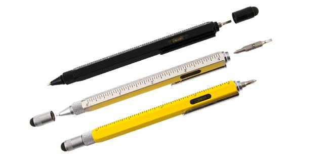 スタイラスと定規、水平器、ドライヴァーが使えるスタイリッシュな万能ペン