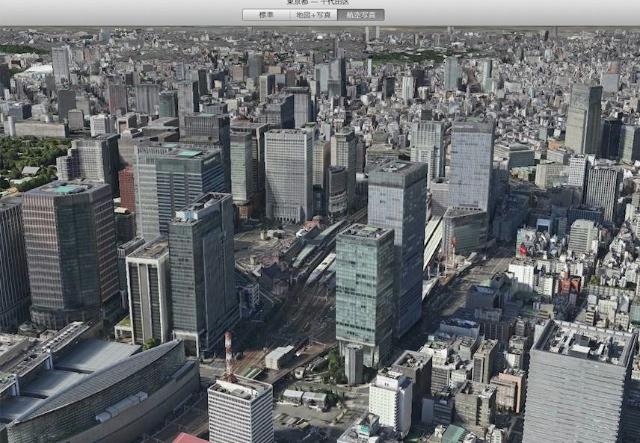 アップルMAP、東京都心部の3D表示についに対応!