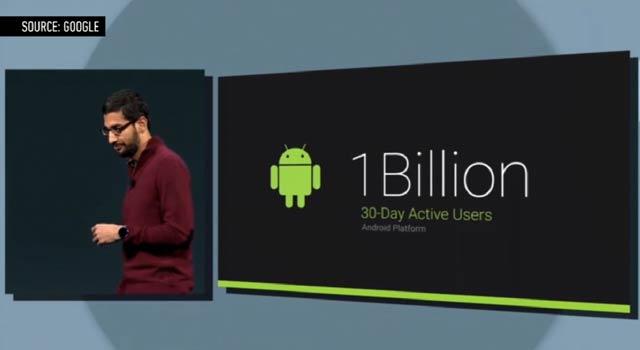 Androidのアクティブユーザー数、月10億人を突破
