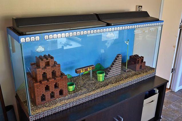 レゴで作ったスーパーマリオのアクアリウム