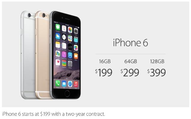 iPhone 6は199ドルから、6 Plusは299ドルから。カラーは既存3色