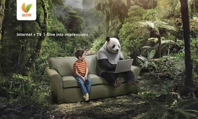 森の中のパンダと少年、この広告ポスターの作り方