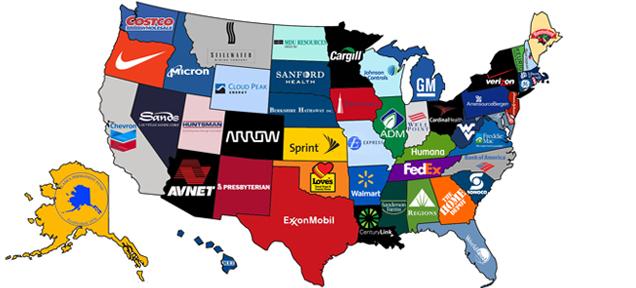 アメリカ各州で最も稼いでいる企業一覧地図