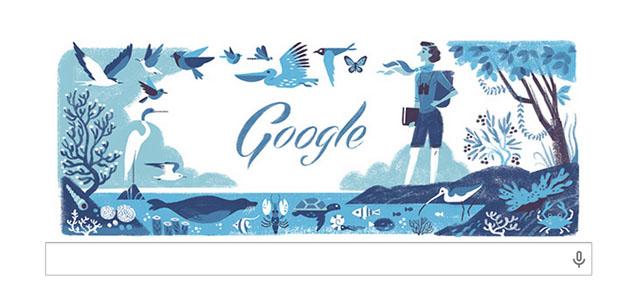 本日のgoogleロゴは、レイチェル・カーソン生誕107周年。環境保護運動の母。