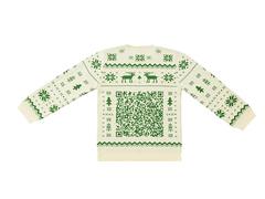 年末は遊び心必要。QRコード付きのセーターで自己紹介