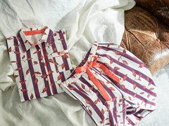 冬もシャツパジャマが好き。人とかぶらない、ストライプ × リーフ柄のルームウェア