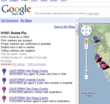 豚インフルエンザ感染エリアマップ