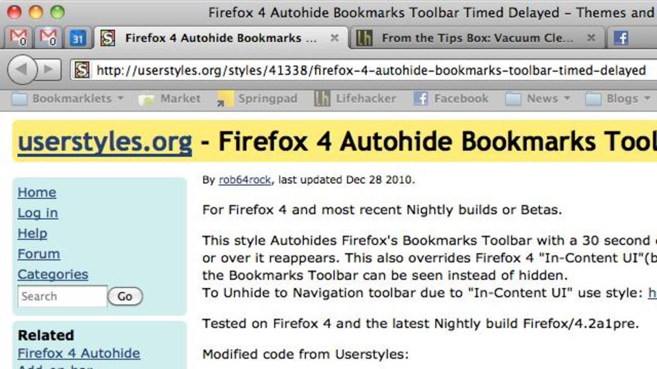 Firefox 4のブックマークバーを使っていない時に非表示にする方法