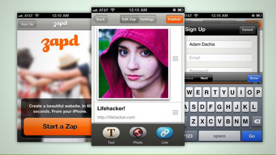 『Zapd』ならiPhoneから魅力的なサイトが作成できる!