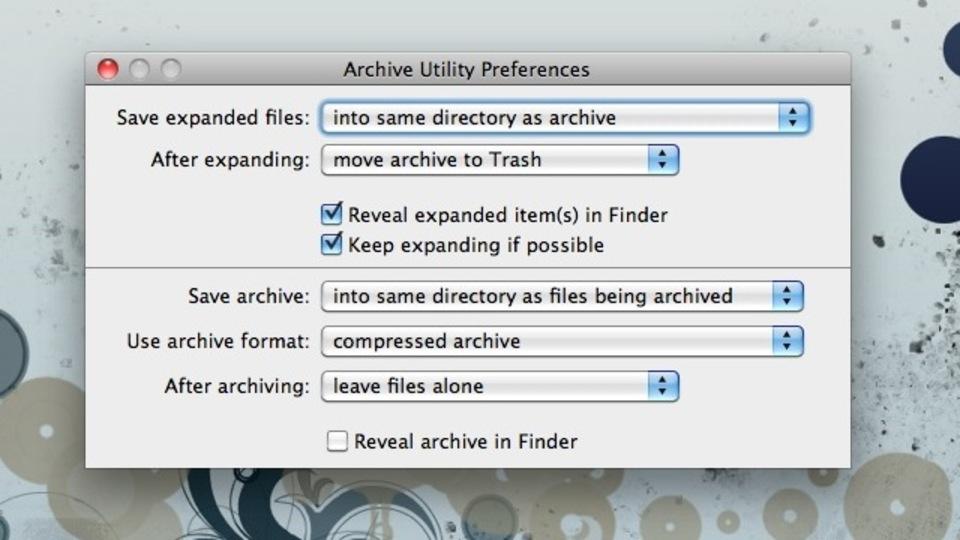 OS Xのアーカイブユーティリティの設定は実は色々カスタマイズ可能なのです