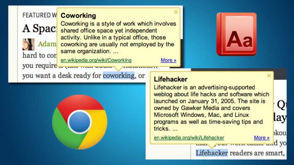 ブラウズ中に辞書が引けるChrome拡張機能「Google Dictionary Extension」