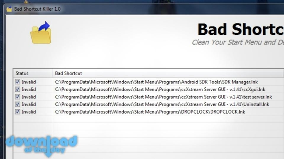 システム内の不要なショートカットを見つけて一気に削除できる『Bad Shortcut Killer』