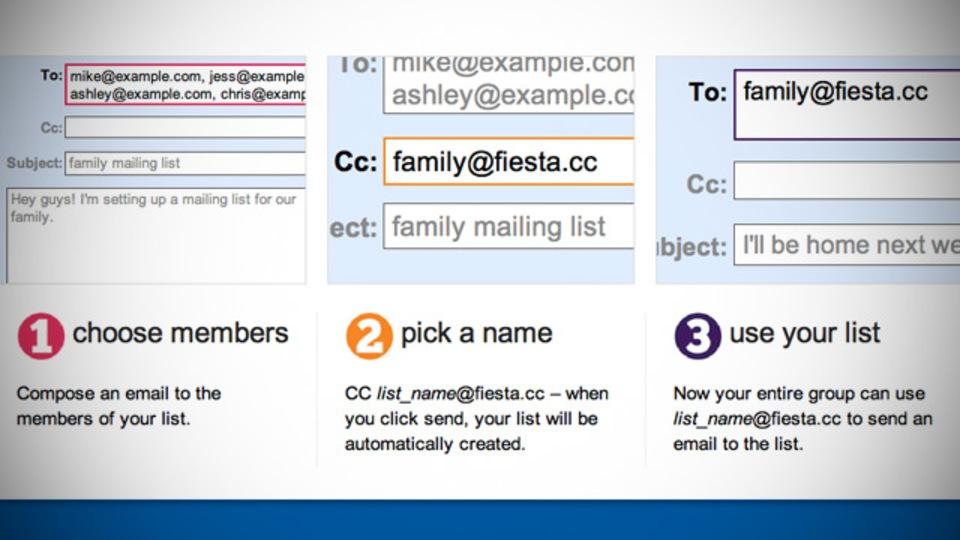 「Fiesta」はわずか3つの手順でグループメールリストを作成可能
