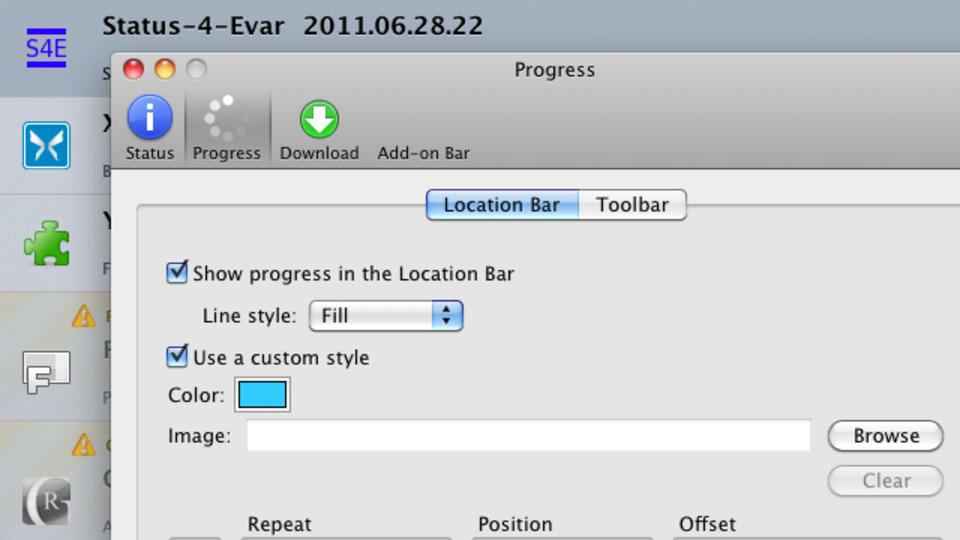 プログレスバーとリンク先のURLをFirefoxのロケーションバーに復活させる「Status-4-Evar」