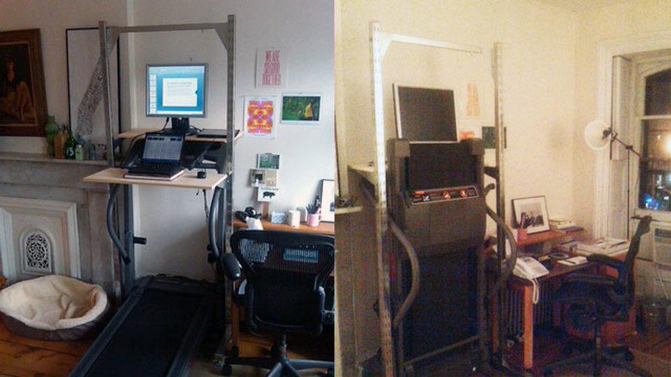 仕事場探訪:運動不足を解消する折り畳み式「トレッドミル・デスク」をDIY