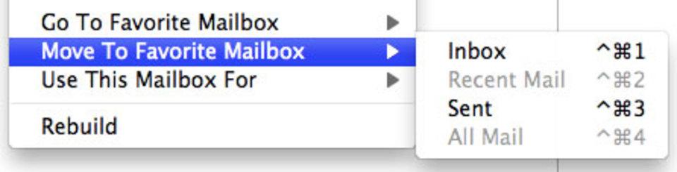 LionのApple Mailのメッセージは「Command + Control + 数字キー」のショートカットで瞬時に移動できます!