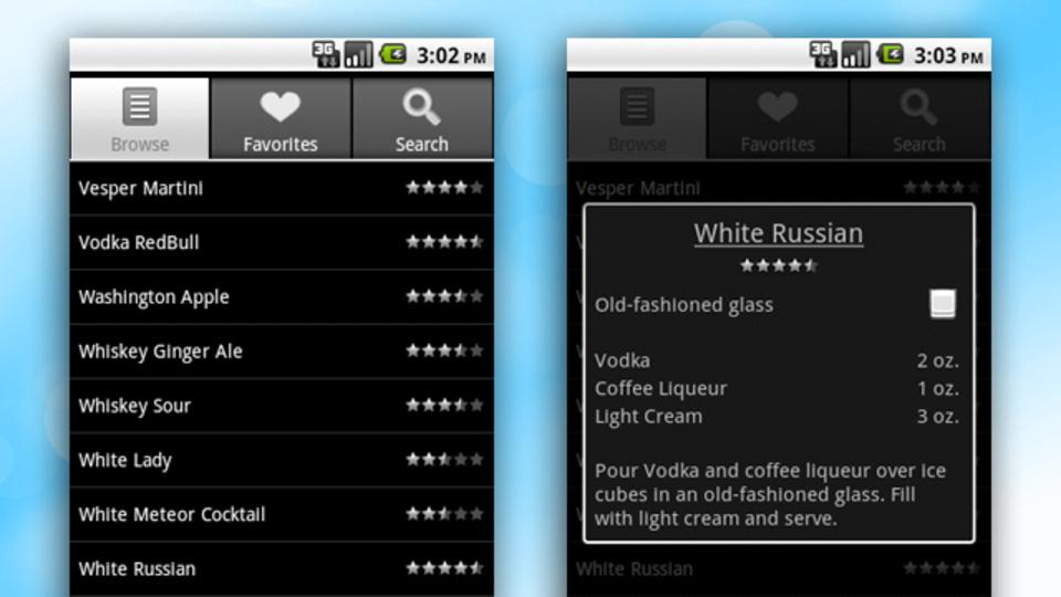 ありとあらゆるカクテルのレシピがある無料のAndroidアプリ『Bartender』