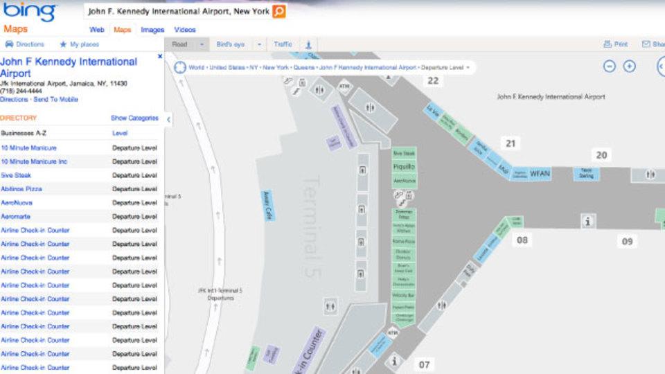 アメリカ主要都市の空港内地図なら「Bing」でチェック!