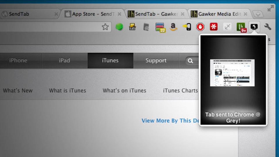 ブラウザのタブを他のパソコンや携帯デバイスに1~2クリックで送れる「SendTab」