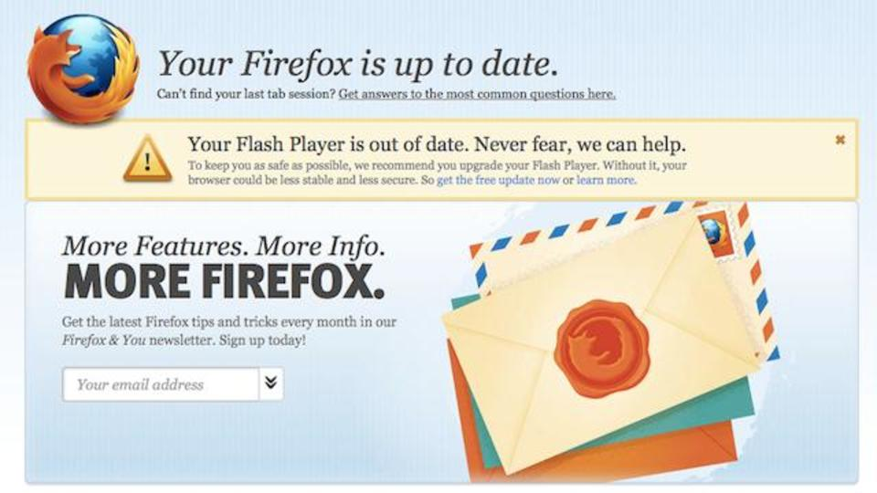 Firefoxがアップデートする度に更新ページが開かないようにする裏技