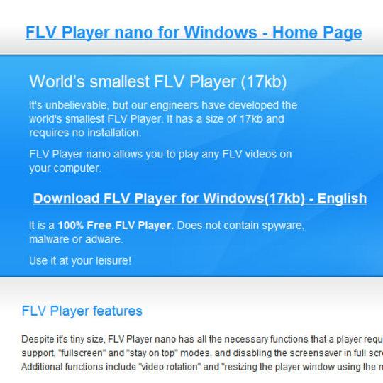 ファイルサイズが17KBしかないFLVプレーヤー「FLV Player nano」