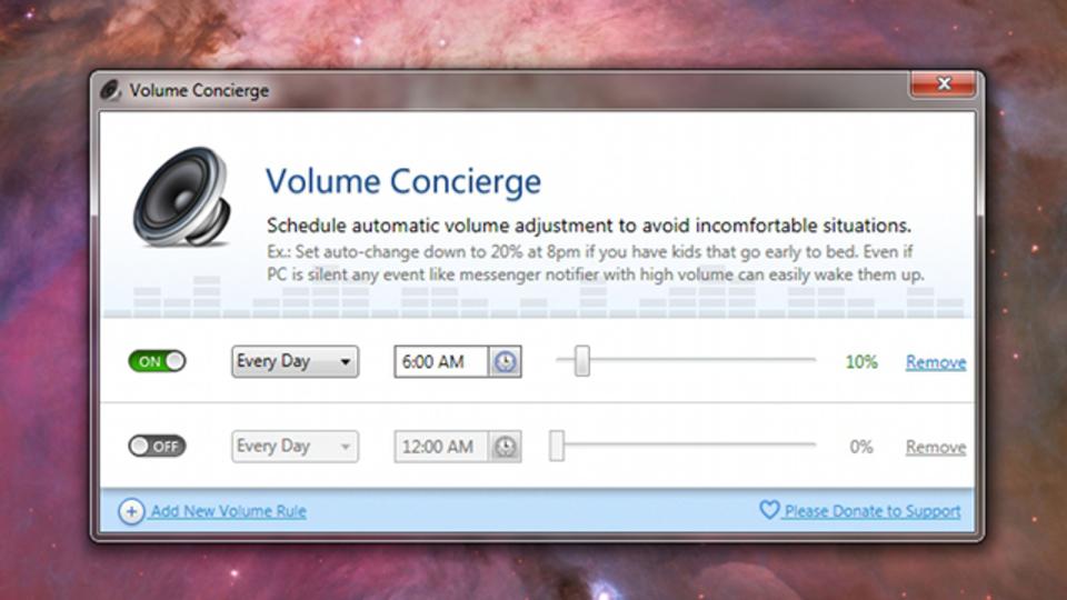 時間帯に応じてPCの音量を自動調整してくれるフリーアプリ『Volume Concierge』