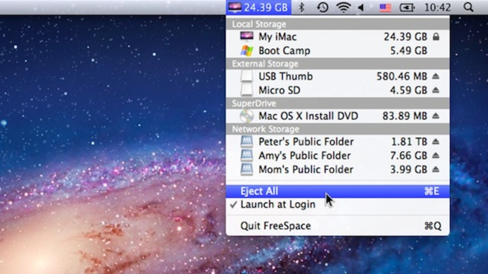 Mac用『FreeSpace』はドライブ容量、空き容量の情報をメニューバーに追加