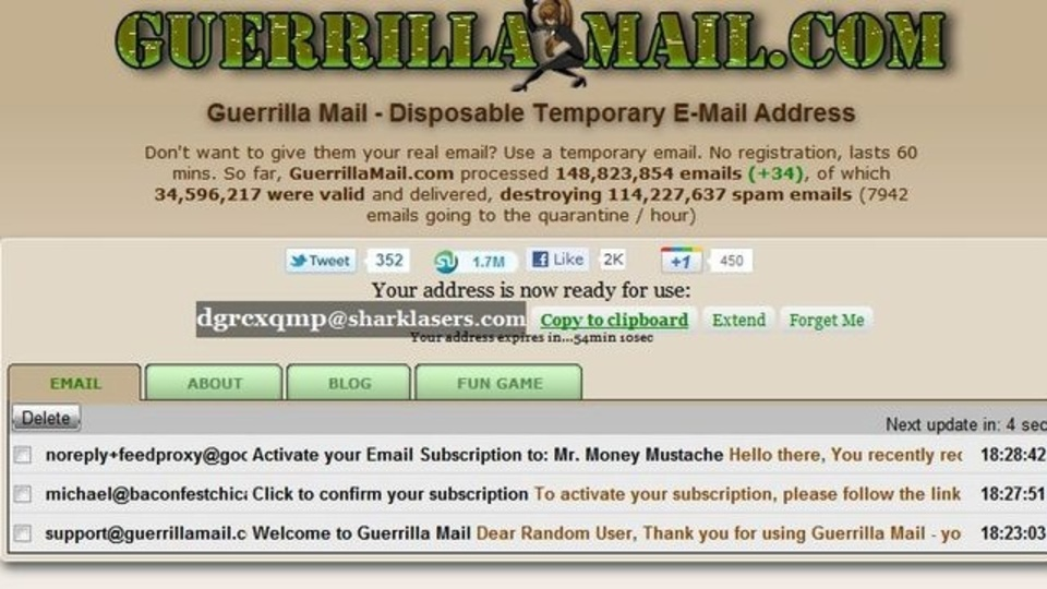 1時間だけ使える使い捨てメールアドレスが作成できる「Guerrilla Mail」