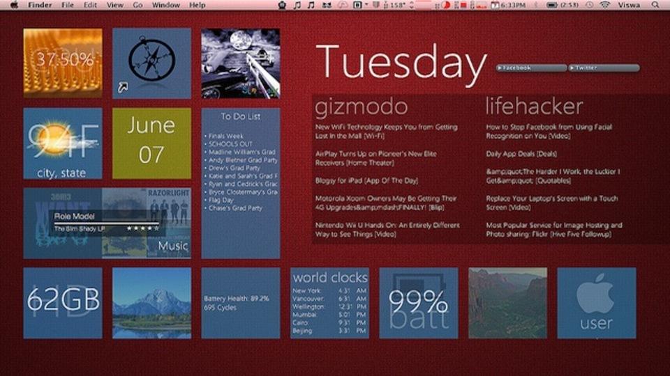 Windows 8の「Metro UI」の見映えをMacに~究極のデスクトップを求めて