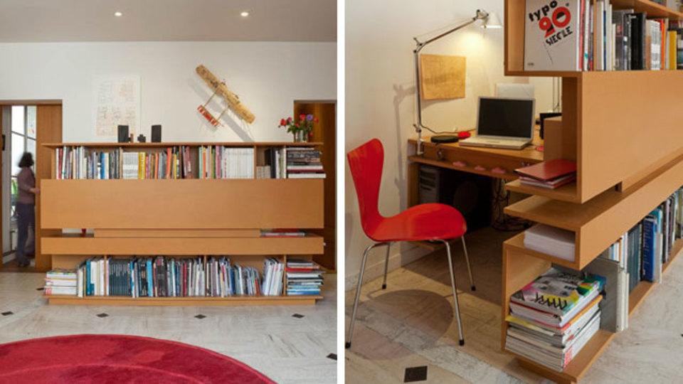 仕事場探訪:リビングには、間仕切り収納家具でアレンジした作業スペースを