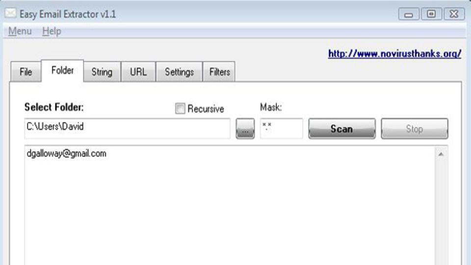 ファイル、フォルダ、ウェブサイトなどからメールアドレスを抽出してくれるフリーウェア『Easy Email Extractor』
