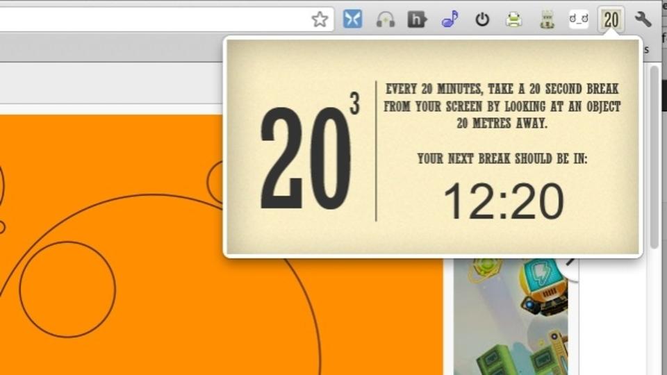 「20 Cubed」は20分ごとに休憩して目を休めるようにリマインドしてくれるChrome用拡張機能