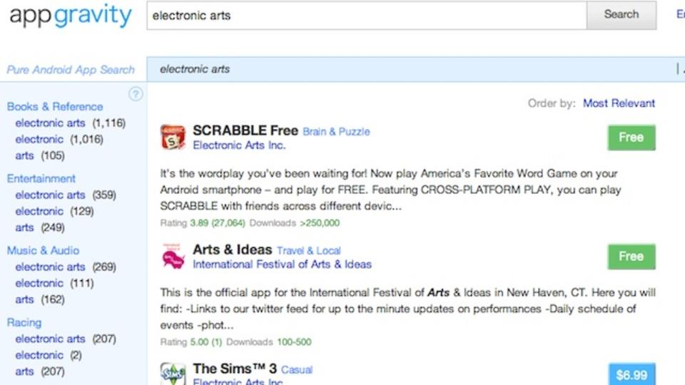 「Appgravity」はAndroidマーケット用の多機能検索エンジン