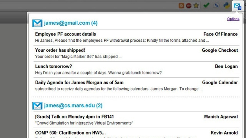Chromeで複数のGmailアカウントの新着メールをチェックできる「Google Mail Multi-Account Checker」
