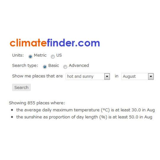 世界中の各月の気候を調べられるサービス「Climate Finder」