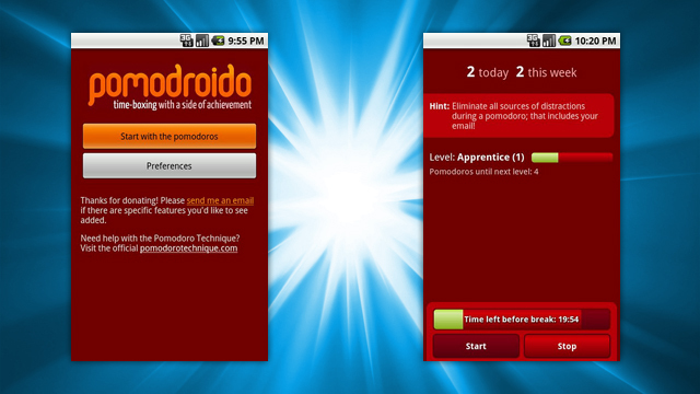 Android対応のエレガントなポモドーロテクニック用タイマー『Pomodroido』
