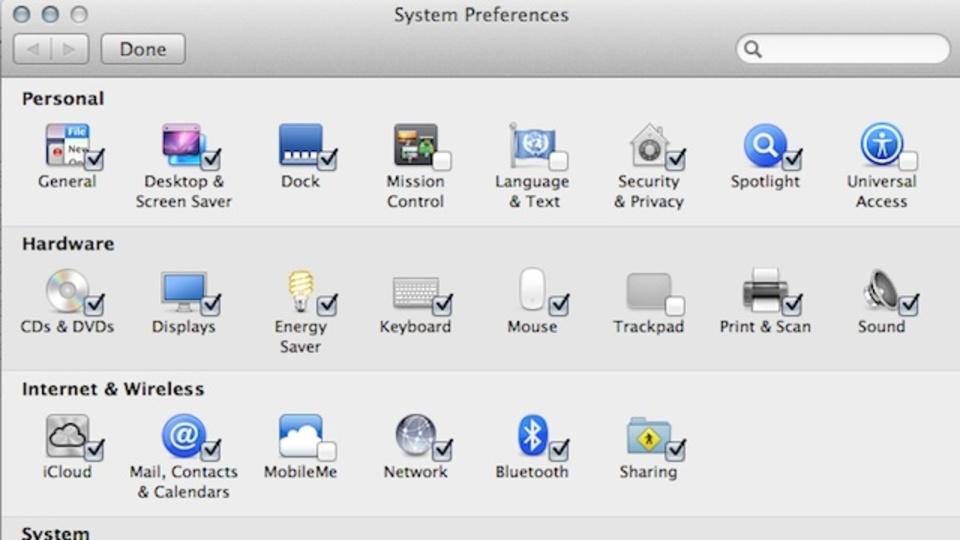 OS Xの不要なシステム環境設定アイコンを削除して設定を簡潔に