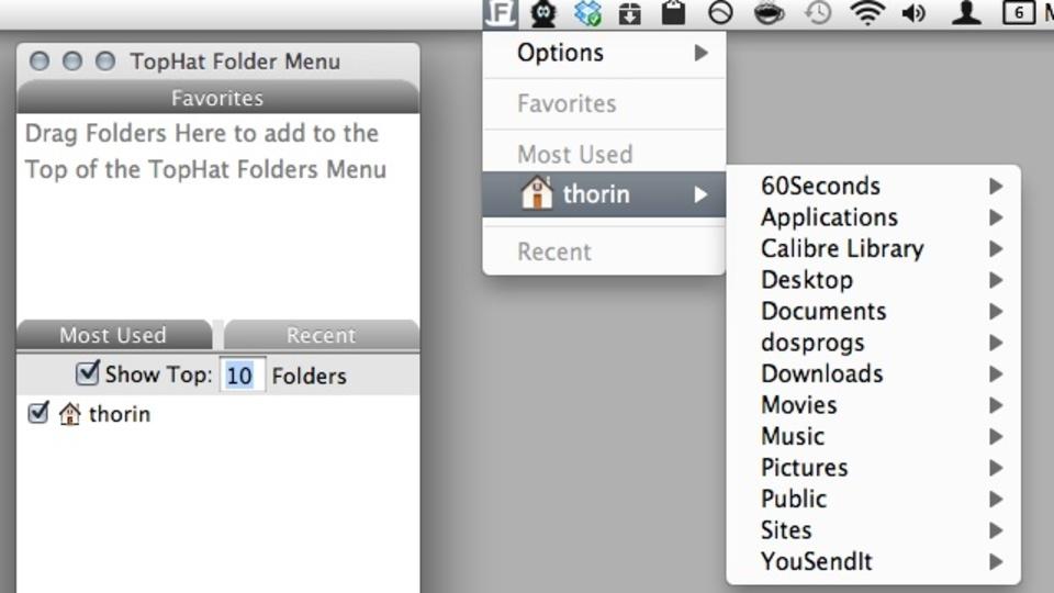 最も頻繁にアクセスするフォルダをメニューバーへ追加できる『TopHat Folder Menu』