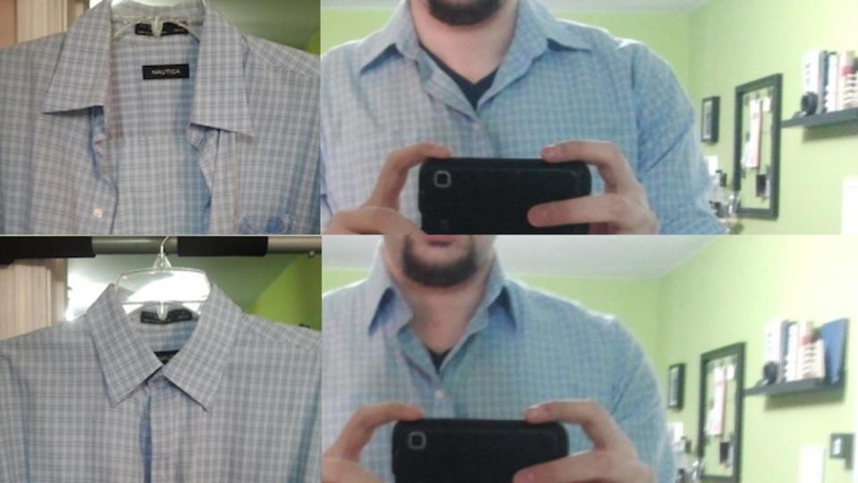 襟付きシャツをハンガーにかける時に一番上のボタンを留めておくと襟が綺麗に保てるそうです