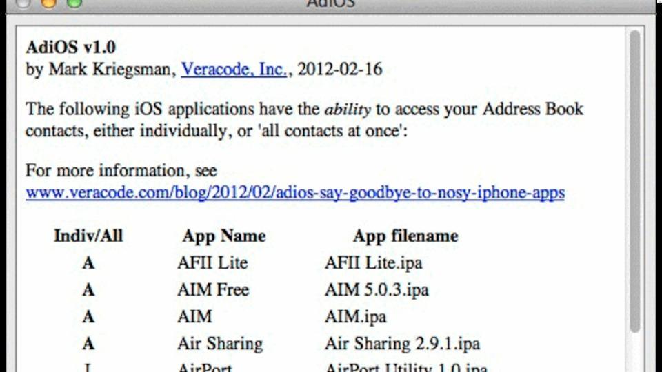 どのiOSアプリが自分のアドレス帳のデータを利用しているのかを検索できる『AdiOS』