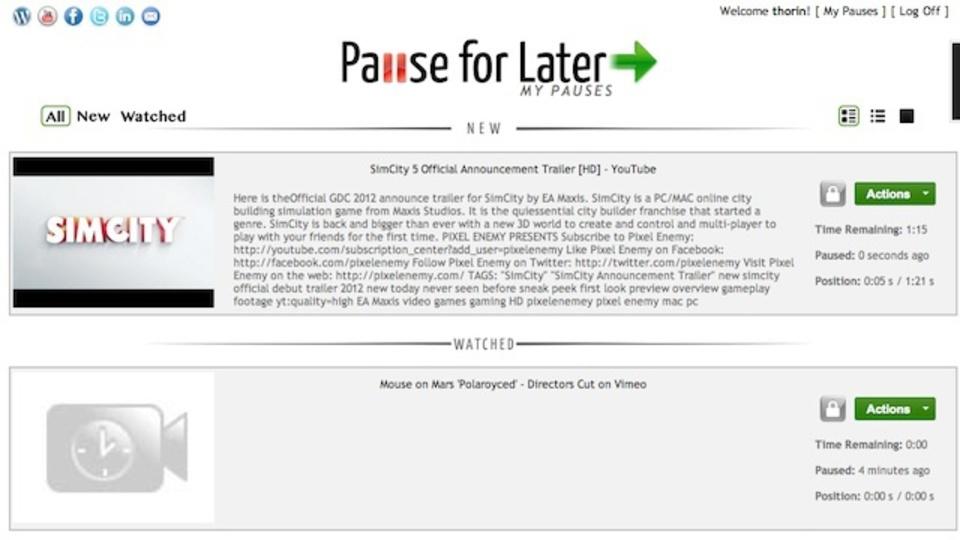 途中まで見た動画の再生位置を保存してくれるYouTube/Vimeo対応のウェブアプリ「Pause for Later」