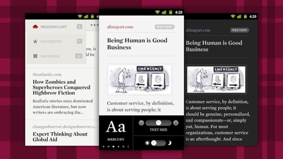 記事のフォーマットをなくして読みやすくする『Readability』のAndroid版が登場!