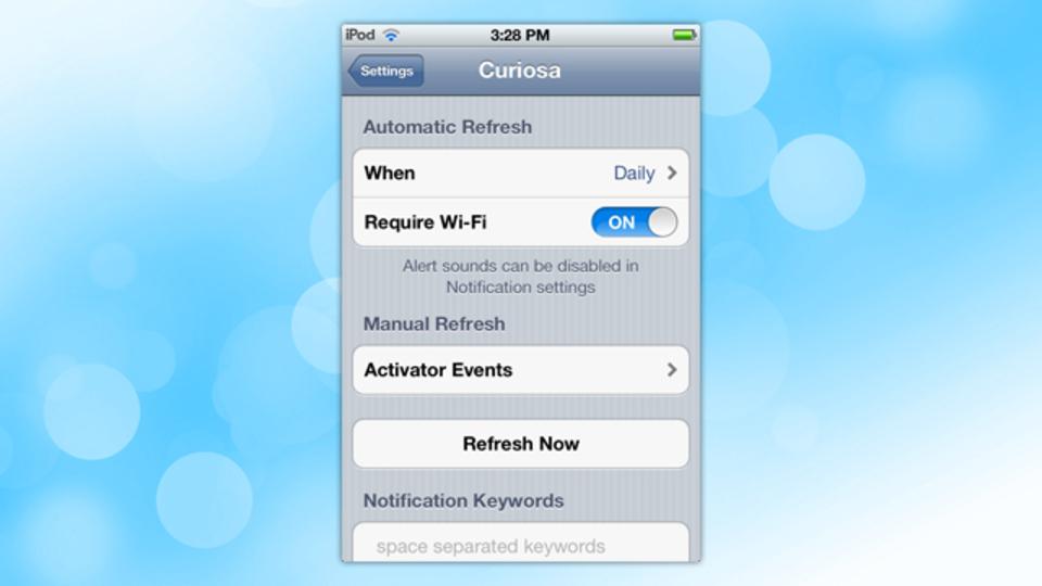 脱獄済みデバイス用アプリのアップデートを自動確認してくれる『Curiosa』